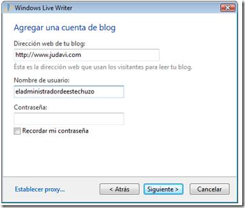 Agregar una cuenta de blog