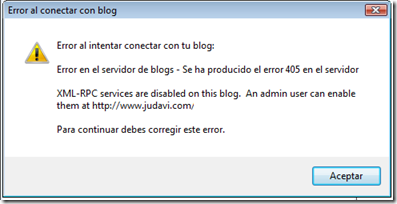 XML-RPC Services are disabled on this blog. An admin user can enable them