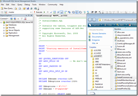 SQL Server Management Studio 2008, corriendo el script