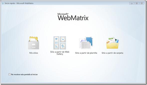 Bienvenida Webmatrix
