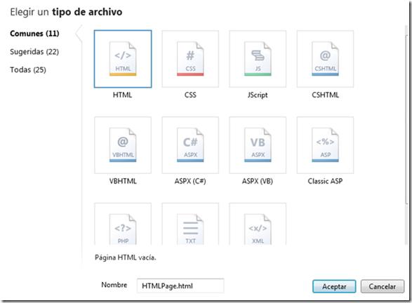 nuevo archivo webmatrix