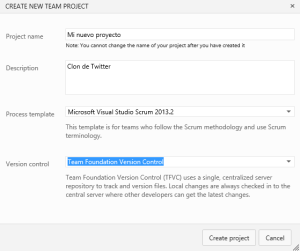 new project visual studio online
